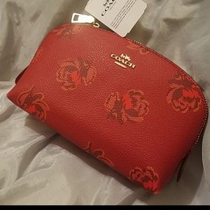 Coach small cosmetic case nwt apple floral print